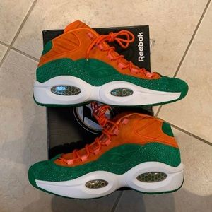 Reebok Iverson Question x SNS Green Orange Shoes